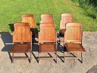 6 Vintage Heywood Wakefield Wood Slat Folding Bench Chairs Mid Century