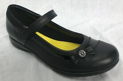 NEW Clarks Girls Daisy Beth Jnr Black Leather School Shoes E/F/G/H Fitting