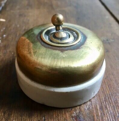 Antique Rare Edwardian Brass And Ceramic Mould Light Switch Toggle Dolly Switch
