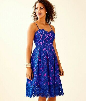 Lilly Pulitzer Camella Dress Fitted Blue Royal Purple Lace Pink Lining 2;NWT$278