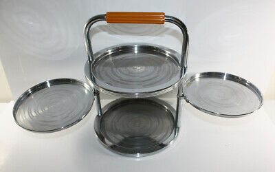 VINTAGE CHASE Tiered Chrome SERVING TRAY with BAKELITE HANDLE 1930s ART DECO