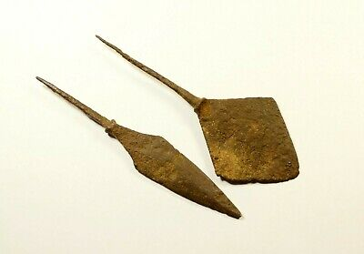 106mm! LOT OF 2 - ANCIENT ROMAN BATTLE IRON ARROW ARROWHEAD - c. 300-400 AD