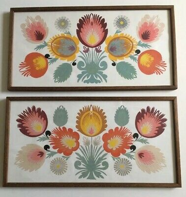 Pair Of Beautiful Mid Century Cut Out Paper Folk Art Flower Pictures Framed
