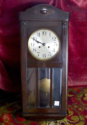 VINTAGE OAK CASED GERMAN WALL CLOCK  circa 1940
