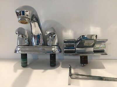 Two Vintage Faucets Art Deco Modern Kitchen Bathroom Sink Silver Mid Century