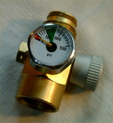 Solid Brass Paintball Valve With On/Off Plus A 0-1500 Psi Gauge All Perfect.