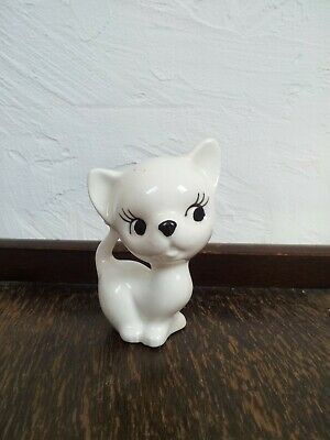 Vintage kitsch cat ornament 1960s White kitten 60s Small ceramic retro kitty