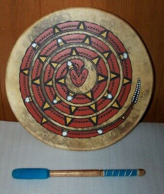 "Native Pacific Northwest Cedar Mountain Drum 17"", Handmade, Signed w/ Beater"