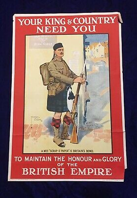 "WWI British Army Recruitment Poster – ""Your King & Country need You"" 1914 RARE"