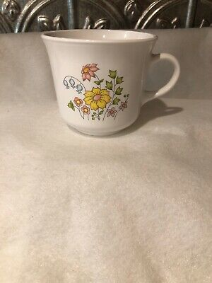 "Corelle Corning Ware ""Spring Meadow"" Coffee Tea Cups Mugs NO MICROWAVE Vintage"