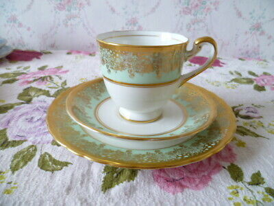 Vintage New Chelsea English China Trio Tea Cup Saucer Jade Green Gilded 4299 A