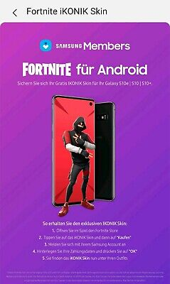 FORTNITE IKONIK SKIN + EMOTE -Samsung Galaxy S10 exklusiv top Bewertungen