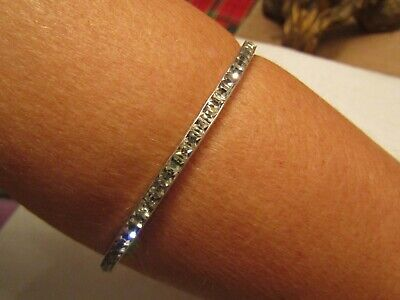 Vintage Silver bangle 1920's - early paste stones VERY LARGE SIZE A REAL ANTIQUE