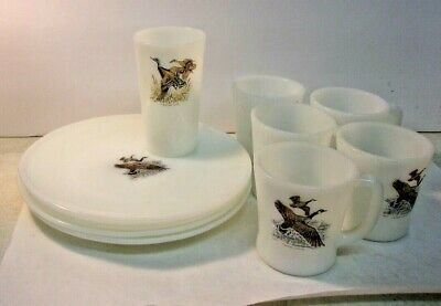 FIRE KING GAME BIRDS - lot of 10 pieces - 5 D Handle Mugs - 4 Plates -1 Tumbler