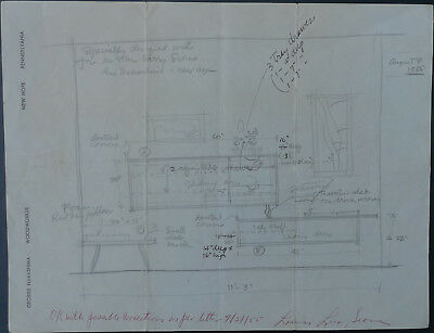 Early George Nakashima /Signed Annotated Furniture Sketch 2 Letters Photo Prints