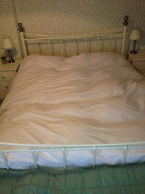 King Size Bedframe Antique Style/French Country Style Metal Off White