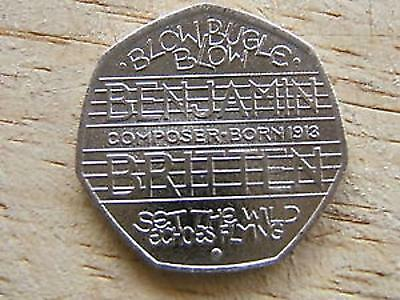 BENJAMIN BRITTEN 2013 50p FIFTY PENCE - RARE - COIN HUNT.