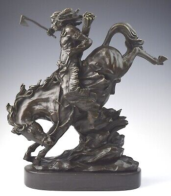 "12"" Signed Milo Bronze Native American Indian on Horseback Statue - NO RESERVE"