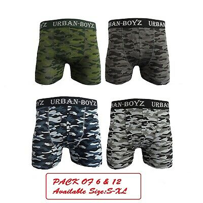 12Pack Mens Camouflage Camo Seamless Boxer Shorts Trunks Briefs Adults Underwear