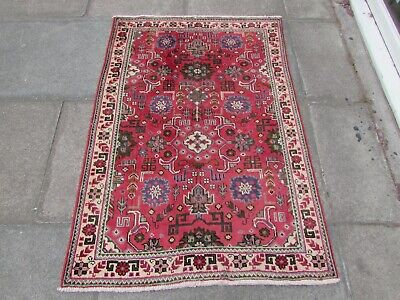 Old Hand Made Traditional Persian Rug Oriental Wool Red Small Rug 140x100cm