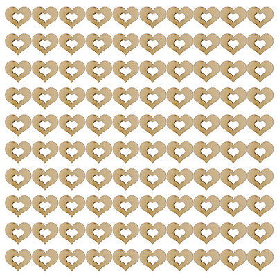 100Pcs Hollow Love Heart Wooden Blank Crafts for Home DIY Wedding Embellishment