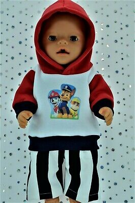 """Play n Wear Doll Clothes To Fit 17"""" Baby Born FLEECY HOODIE~STRIPE PANTS"""