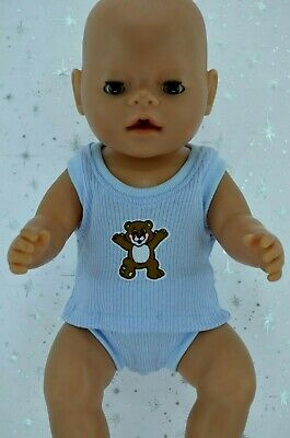 "Play n Wear Doll Clothes To Fit 17"" Baby Born BLUE SINGLET~UNDIES"