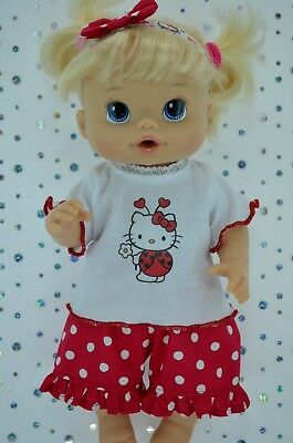 "Play n Wear Doll Clothes To Fit 13"" Baby Alive POLKA DOT PANTS~TOP~HEADBAND"