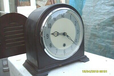 Mantel  Clock Smiths Bakelite Time Piece Key + Pendulum