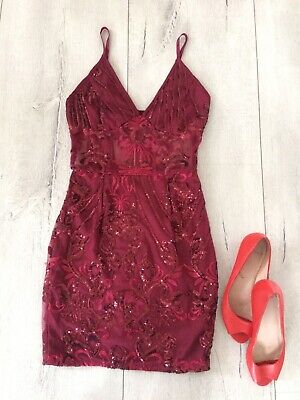 a18a00ce Pretty Little Thing Uk6 Xs Red Dress Sexy Straight Mini Party Bodycon Sequin