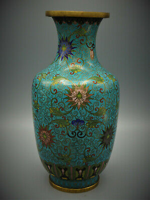 Chinese Cloisonne Blue Vase, Late 19Th– Early 20Th C