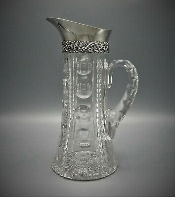 Tiffany & Co Crystal And Sterling Silver Water Pitcher / Carafe, Circa 1900