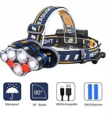 Headlight USB Rechargeable LED Head Torch with Red Warning Light