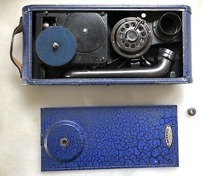 1930's BLUE Thorens Excelda Pocket Phonograph Swiss Plays 78 RPM Records