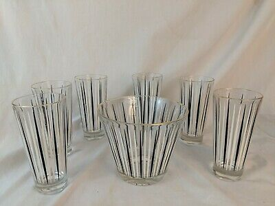 Vintage 1950s Atomic Glasses  Set Of 6 Mid Century Modern  Bar Ice bucket