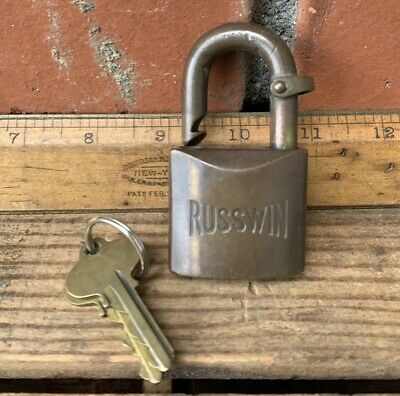 Vintage Russwin Padlock Heavy Solid Brass Lock & Keys With Bronze Chain Fob