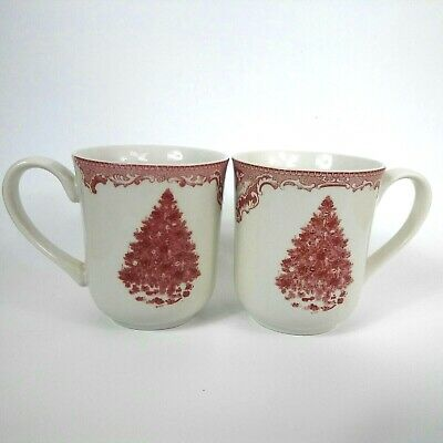 Johnson Bros England Pink Christmas Tree Mug Cup Old Britain Castles Set of 2