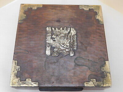 "Vintage Hammered Copper (?) 4.5"" Wood Lined Box Inca Warrior (?)  Brass Corners"