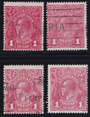 Stamps Australia - KGV 1d Red Single Wm x 4 - Shades (4).