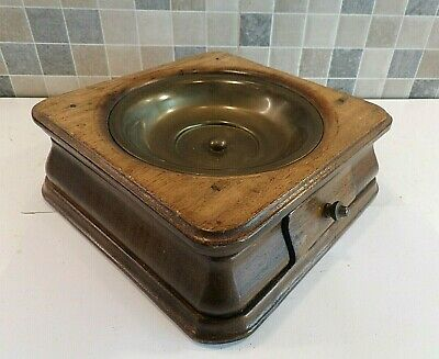ANTIQUE 19thC FRENCH FRUITWOOD & BRASS CALLING CARD RECEPTACLE WITH SMALL DRAWER