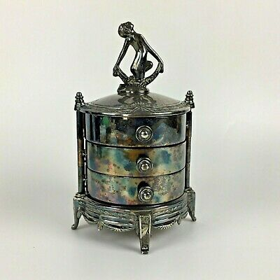 Victorian Art Deco Nouveau Jewelry Box Silver Tone Drawers Red Antique Vtg Gift