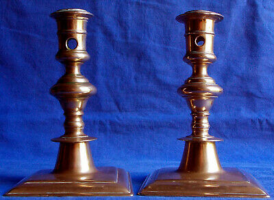 Pair of 17th century French bronze acorn-knopped socket candlesticks circa 1640