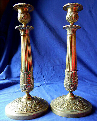 Pair of early 19th century formal French brass Empire candlesticks circa 1815