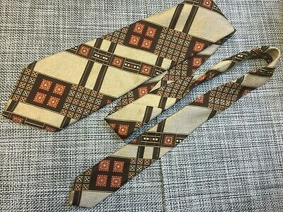 Mens Vintage Tie Folkspeare Wide 11cms 100% Polyester Brown Tones