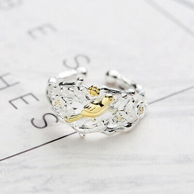 Women Cute Branch Golden Bird Cherry Blossom Hollow Wedding Engagement Ring Gift