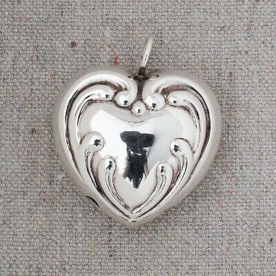 """Antique Victorian Puffy Heart Sterling Silver Baby Rattle Bell Charm Pendant 1¾"""""""