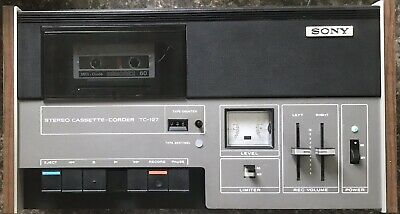 Vintage Sony TC-127 Cassette Player/Recorder Wood Case Works Great! Very Clean