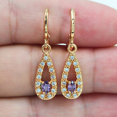 18K Yellow Gold Filled Women Purple Topaz Zircon Teardrop Dangle Earrings