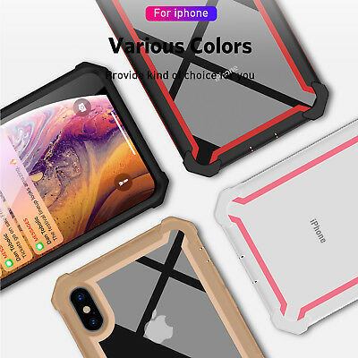 Hybrid Shockproof Heavy Duty Clear Cover Case For iPhone XS Max/XR/X/6s/7/8 Plus