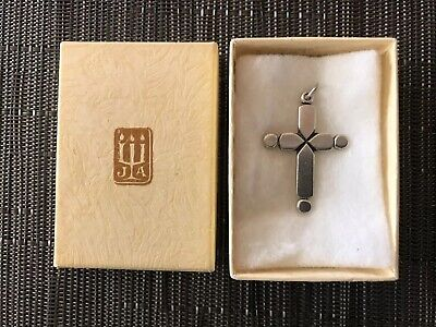 1970's James Avery Retired Sterling Silver Cross Pendant With Box Vintage